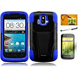 LF 4 in 1 Bundle Accessory - Hybrid Dual Layer Case with Stand, Lf Stylus Pen, Screen Protector & Wiper For (AT&T) ZTE Radiant z740 (Stand Black / Blue)
