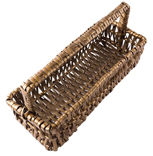 Rectangular Willow Catch-All Tray Basket with Handle in Dark Glittering Oak - 10
