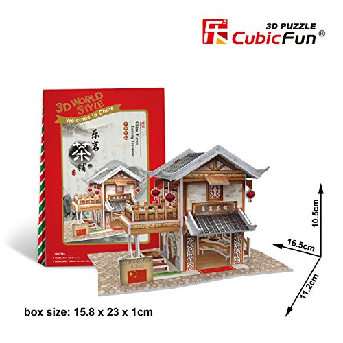 "W3130h Cubicfun Cubic FUN 3d Puzzle Model China Flavor Leming Teahouse 6.5"" - 1"