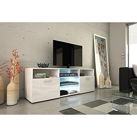 Kora meuble tv 150cm avec éclairage led - blanc brillant