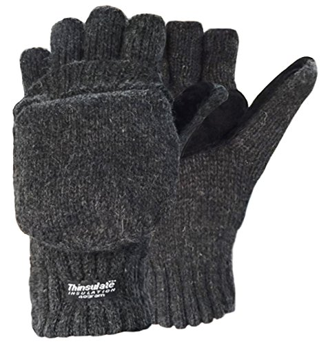 Korlon Wool Knitted Convertible Fingerless Gloves with Mitten Cover, Dark Gray (Kids Convertible Gloves compare prices)