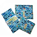 SnackTaxi Reusable Sandwich-sack Bag, Snack-sack Bag and Twice-as-nice Napkin Organic Cars Set.