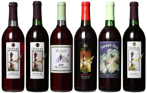 Duplin Winery Six Reds: Burgundy, Hatteras Red, Carolina Red, Black River Red, Sweet Sox Red And Easy Mixed Pack 6 X 750 Ml
