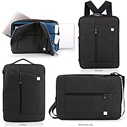 LUVVITT Convertible Backpack / Handbag / Messenger Bag with Shoulder Strap fits iPad Pro / Air, Macbook Pro / Air and computers up to 13 inch - Black