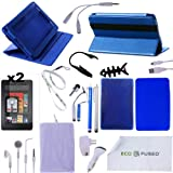 Accessory Combo for Kindle Fire / (Blue) Rotating Leather Case / (Blue) TPU Case / (Blue) Silicone Case / 5 (Blue and Silver) Stylus Pens / Earphones /Chargers / Screen Protectors / Reading Light for Kindle Fire - ECO-FUSED® Microfiber Cleaning Cloth and Free Lanyard Included - And MORE! (Blue)(does not fit Kindle Fire HD)