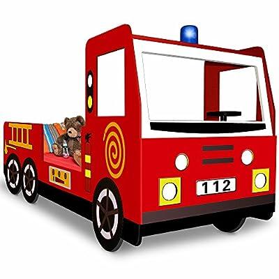 Kinderbett inklusive Lattenrost - Spielbett Autobett Feuerwehrbett Bett Lattenrost Feuerwehr Jugendbett