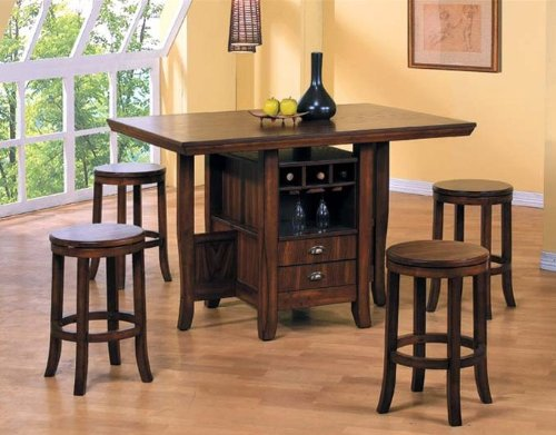 Cheap 5pc Counter Height Kitchen Island Table & Stools Set Dark Oak Finish (VF_Dinset-AM6300-AM6302)