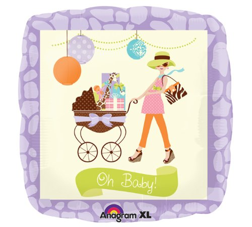 """Oh Baby! Baby Boy Or Girl Shower Large 18"""" Square Mylar Foil Balloon - Modern Mommy Chic front-1026500"""