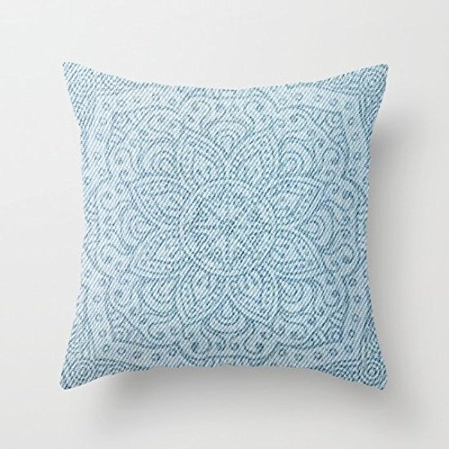 Decorative Square Pillow Case Cushion Cover 20X20 Inches Mandala On Light Blue Jeans (Light Blue Pillows Decorative compare prices)