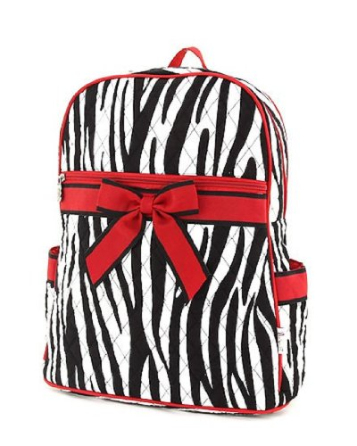 Belvah Large Quilted Zebra Print Backpack (Black/Red)