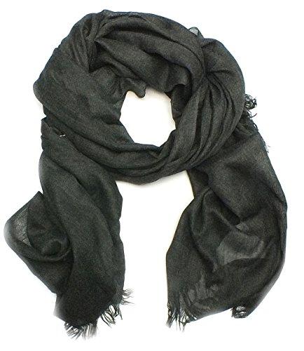 Herren Long-Schal, TU041, uni, XXL, 4 Farben: rot, hellbraun, petrol blau oder schwarz, Farbe:schwarz