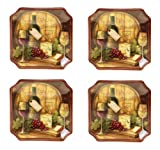 Certified International Wine Map Canape Plate, 6-Inch, Set of 4