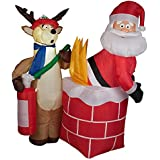 CHRISTMAS INFLATABLE 4' SANTA ON FIRE WITH REINDEER FIREMAN AIRBLOWN YARD PROP
