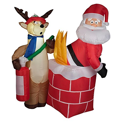 Christmas Inflatable Santa on Fire with Reindeer Fireman Airblown Yard Prop