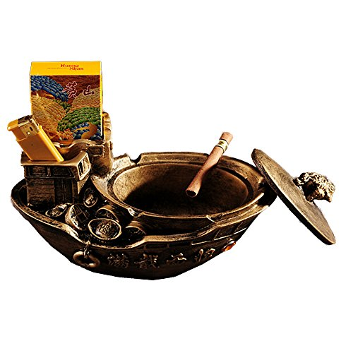 Tripolar Retro Cigar Ashtray Eco-friendly Cigarette Home Office Tabletop Bar Ash for Decoration- As Fantasy Gifts for Men Smokers,Green Bronze Sailboat (Resin Tobacco Pipe compare prices)