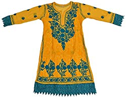 Apsara Women's Georgette Regular Fit Kurta (Yellow, L)