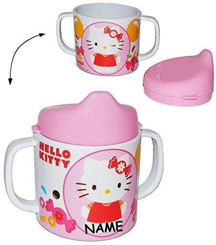 Trinklernbecher-Hello-Kitty-Melamin-incl-Namen-rosa-fr-Mdchen-Tasse-mit-abnehmbaren-Deckel-fr-Baby-auslaufsicher-Trinklerntasse-Katze-Trinkbecher-Kleinkinder-Kindergeschirr-Ktzchen