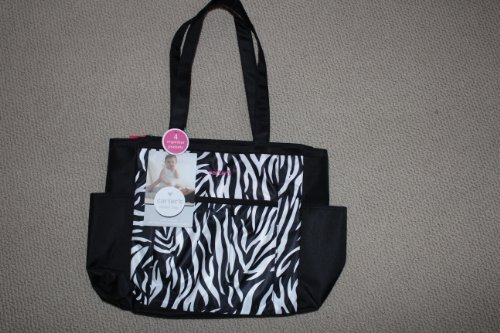 Carters Leopard Print with Pink Stitching and Zipper Stylish Tote Bag with 4 Easy-access Organizer Pockets - 1