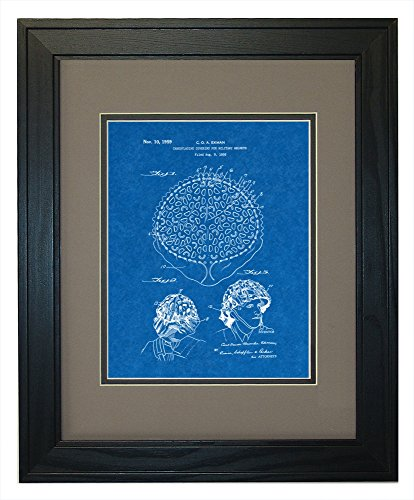 "Camouflaging Covering For Military Helmets Patent Art Blueprint Print in a Solid Pine Wood Frame with a Double Mat (11"" x 14"")"