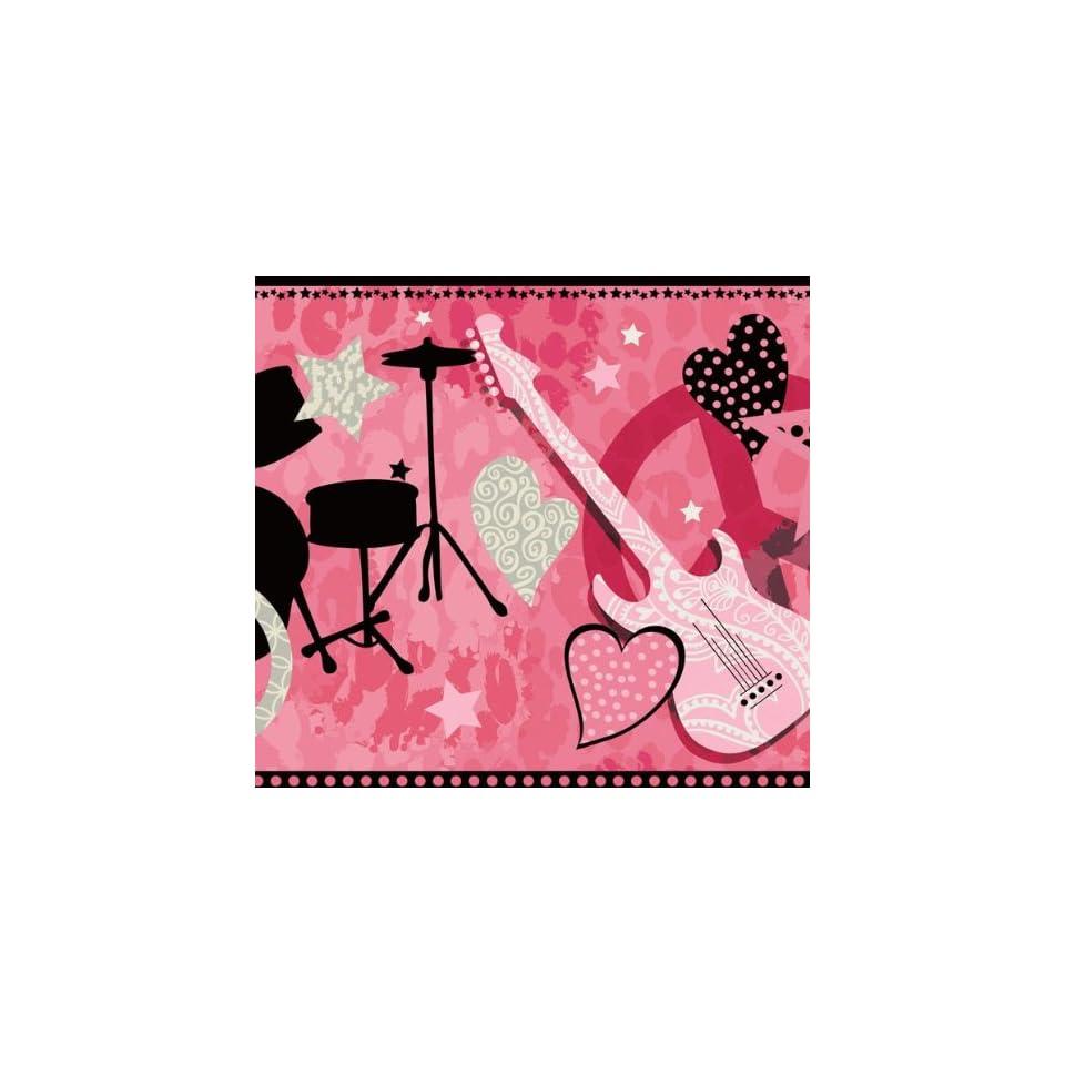 Pink rock star guitar wallpaper border home improvement - Guitar border wallpaper ...