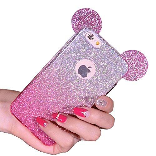 """Sunroyal® Case Cover per Apple iPhone 6 6S 4.7"""", Carina Mickey Orecchio Back Custodia [Assorbimento urti] Glitter Soft Morbido TPU Gel Silicone Protettivo Custodia Copertura Shell - Rosa"""