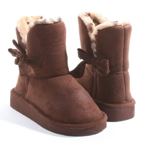Toddler Girls Bow Leopard Fur Ankle Bootie (4)