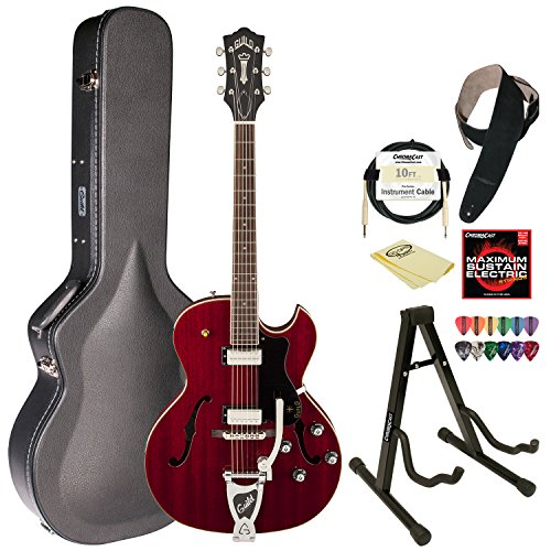 Guild Cherry Red Starfire Iii Hollowbody Electric Guitar W/Guild Vibrato Tailpiece With Guild Hard Case, Chromacast Electric Strings, Cable, Strap, Picks, Stand And Polish Cloth