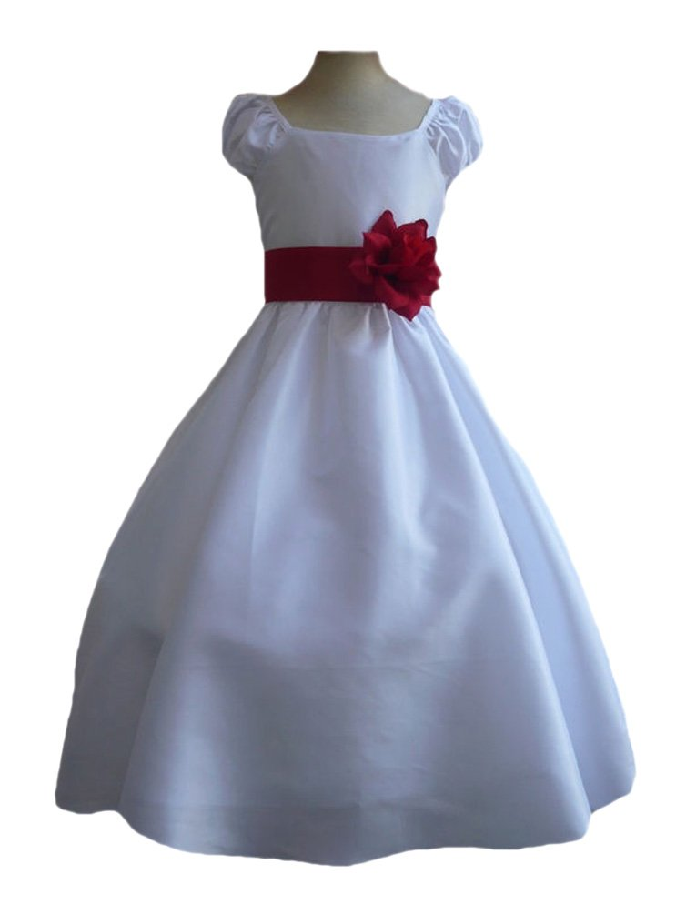 White Taffetta Flower Girl Dress with Red Sash