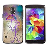 Paccase Hard Protective Case Cover for Happy Rain Window Painting Samsung Galaxy S5 SM G900