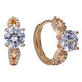 Snowman Lee Gemstone On Hand Cluster Style 18k Rose Gold Planted Hoop Earrings