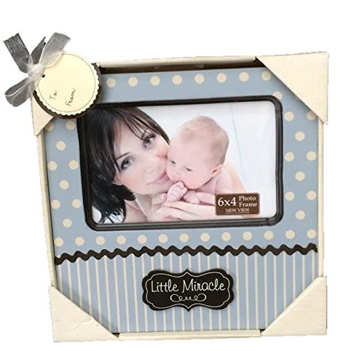 New View Baby Boy Little Miracle Frame, 8 by 8 Inch Frame, Holds a 6 by 4 Inch Photo