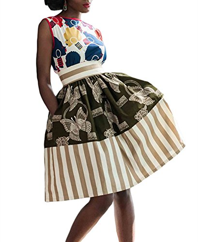 VIGVOG-Womens-Ethnic-Plus-Size-African-Print-Pull-on-Pleated-Midi-A-line-Skirt