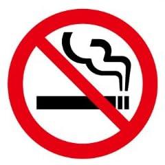 禁止マーク/禁煙 おタバコご遠慮下さい 片面シール 15cm×15cm