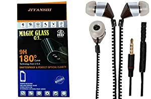 JIYANSHI combo of unbreakable screen guard & earphone black in ear. Compatible for Nokia X+