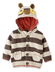 Hooded Dog Appliqué Striped Cardigan