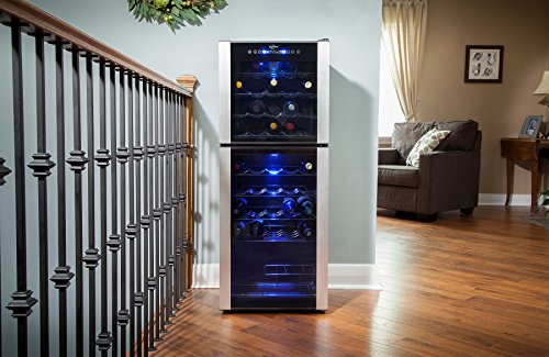 Koolatron WC45 45 Bottle Dual Zone Wine Cellar, Black/Silver