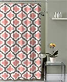 Geometric Patterned Shower Curtain 72-inch By 72-inch - CORAL