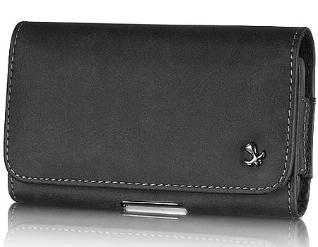 Extra Large Luxmo Horizontal Pebble Design Leather Pouch Holster Case With Belt Clip Loops For Htc Evo 9292 Supersonic 4G Design Inspire Desire Hd Thunderbolt Hd2 Hd7 Radar Trophy Surround Mytouch 4G Slide G2/ Motorola Droid X X2 Atrix Titanium Xprt Droid