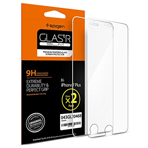 iPhone 7 Plus Screen Protector, Spigen® [Tempered Glass] [2 Pack] iPhone 7 Plus Glass Screen Protector [Easy-Install Wing] [Lifetime Warranty] - 2 Pack