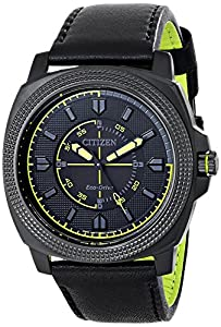 """Citizen Men's BJ6475-18E """"Drive"""" Ion-Plated Stainless Steel Watch with Black Leather Band"""