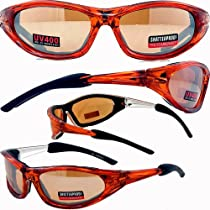 Accent Foam Padded Sunglasses, Motorcycle Sports ATV Eyewear Orange Frame