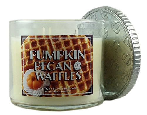Bath & Body Works Home Pumpkin Pecan Waffles Scented Candle 3 Wick 14.5 Oz Limited Edition 2015 Candle Bath