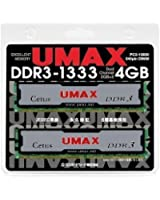 UMAX DDR3-1333(2GB*2)Kit CL9 1.5V DDR3-1333 2枚組 デスクトップ用 240pin U-DIMM Cetus DCDDR3-4GB-1333
