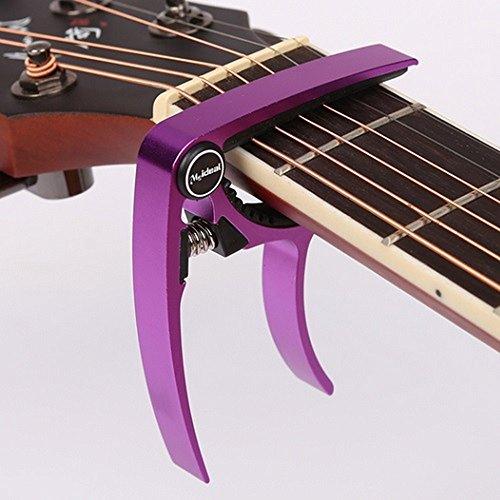 2015年 モデル ギター カポタスト Guitar Capo フォーク エレキ 用 0.58 mm 0.71 mm 0.81 mm ピック 各2個 付き (7. 紫 パープル)