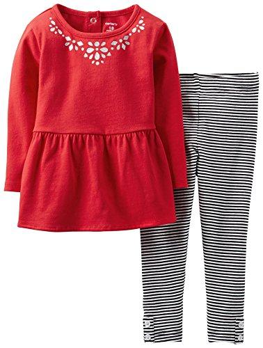 Carter'S Little Girls' 2 Piece Ruffled Top Set (Toddler/Kid) - Red - 4T front-159245