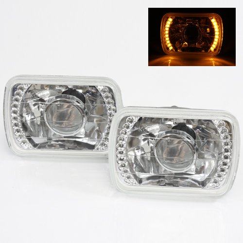 7X6 H6014/H6052/H6054 Yellow Led Ring Chrome Crystal Square Projector Headlights Conversion