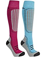 Trespass Janus Technical Ski Socks 2 Pack Bluewater Sangria