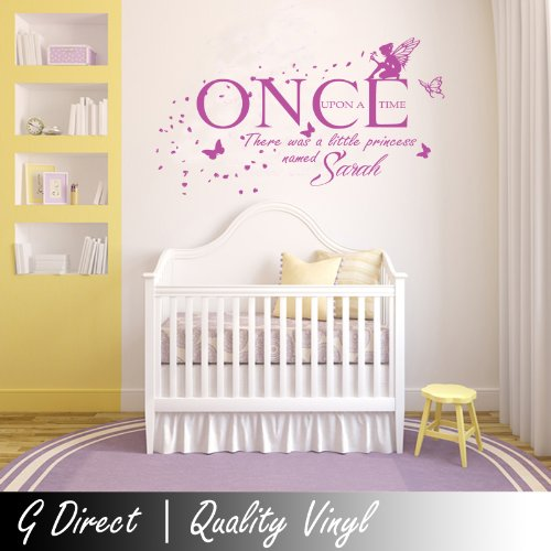 Personalised Once Upon A Time Princess Wall Sticker Vinyl Decal Girls Bedroom T2 100X55 front-1023610