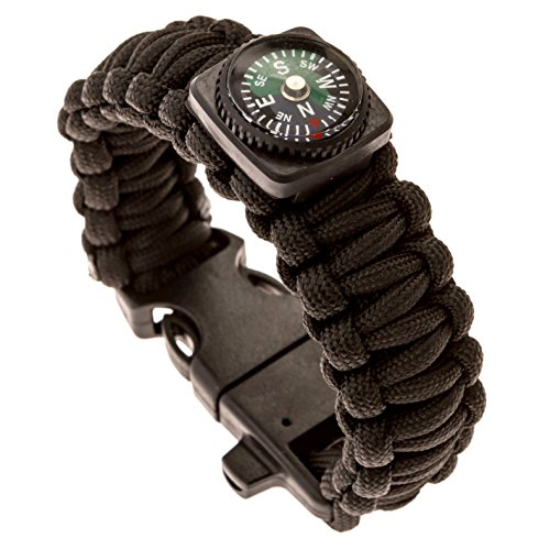 TacPilot ULTIMATE Tactical Survival Gear | Emergency 550 Paracord Bracelet | Complete With Flint Fire Starter, Whistle, Compass & Scraper/Knife