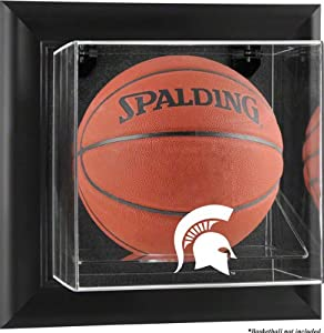 Michigan State Spartans Brown Framed Wall Mountable Basketball Display Case by Sports Memorabilia